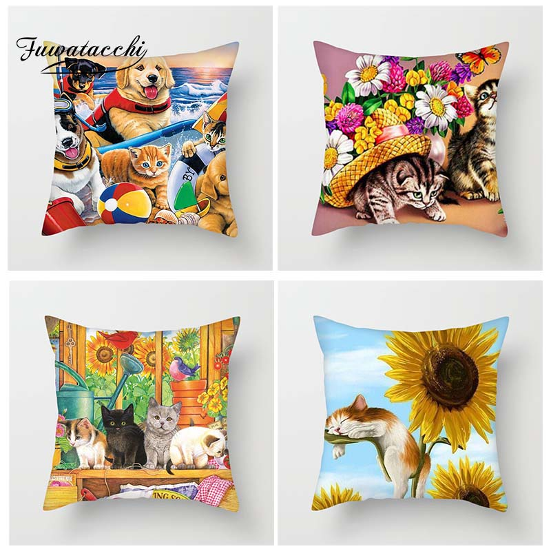 Fuwatacchi Pets World Cushion Cover Cats Dogs Throw Pillow Covers Playing with Sunflower Poppy Kitty Pillowcases For Sofa Decor(China)