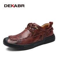DEKABR New Fashion Men S Genuine Leather Shoes Men Lace Up Oxford Flats Summer Comfortable Handmade