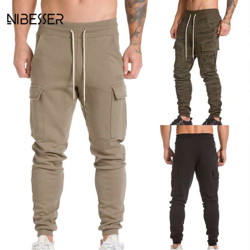 NIBESSER Fashion Workout Pants Men Drawstring Pocket Fitness Pants Cotton Sweatpants Solid Skinny Pants Compression Trouser