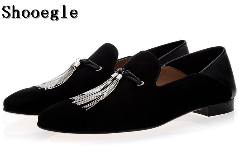 SHOOEGLE Luxury Handmade Silver Metal Tassel Men Loafers Shoes Black Suede Fashion Stress Shoes Man Wedding Party Dress Shoes