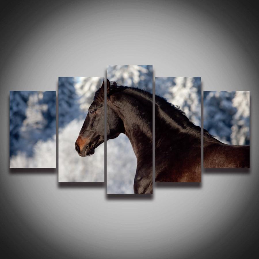 No enmarcado impreso negro moderno caballo imagen animal pintura ...