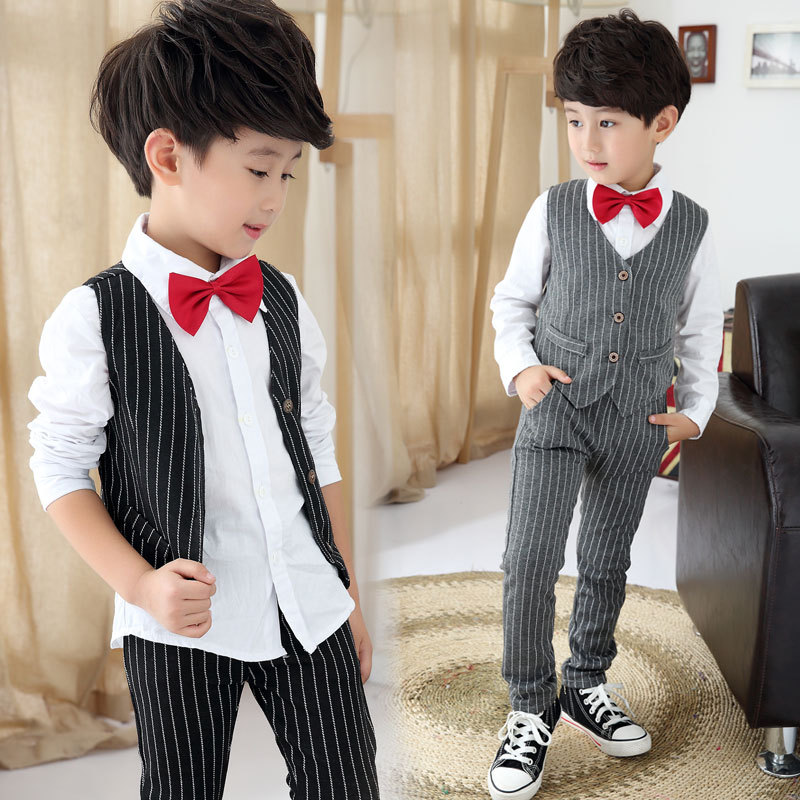 ФОТО Juinor boys clothing sets boys striped vest+pant+shirt suits formal outfits kids school uniform children wedding party clothes