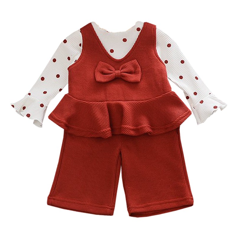 2017 Spring&Autumn Childrens Clothes Baby Girls Sets Wave Horn Long Sleeves Sling Fake Two Pieces +Pants Suit Girls Clothes ...
