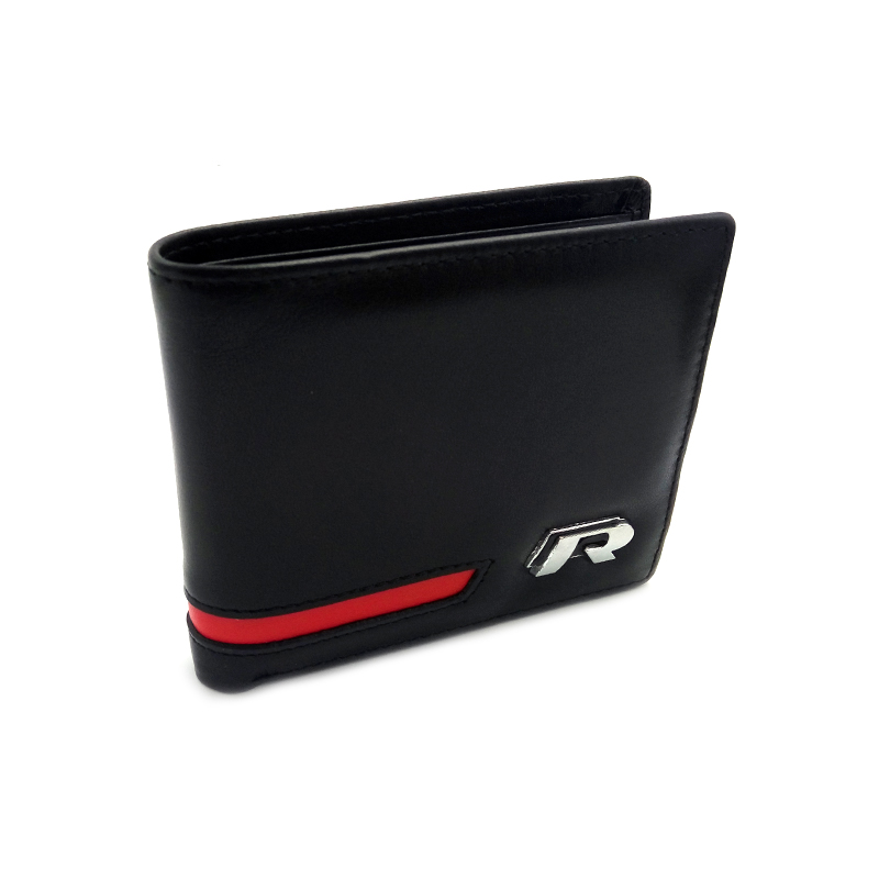 R LOGO Leather Wallet Coin Purse Holder for VW Golf 5 6 7 Passat B6 B7 CC Jetta MK5 MK6 MK7 Tiguan Scirocco Touareg Sharan EOS