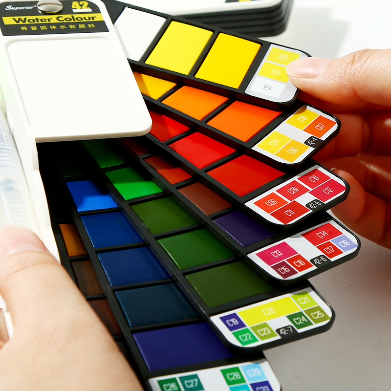 Купить с кэшбэком 18/25/33/42Colors Solid Water Color Paint Set With Water Paint Brush Portable Watercolor Pigment Pain't For Artist Art Supplies