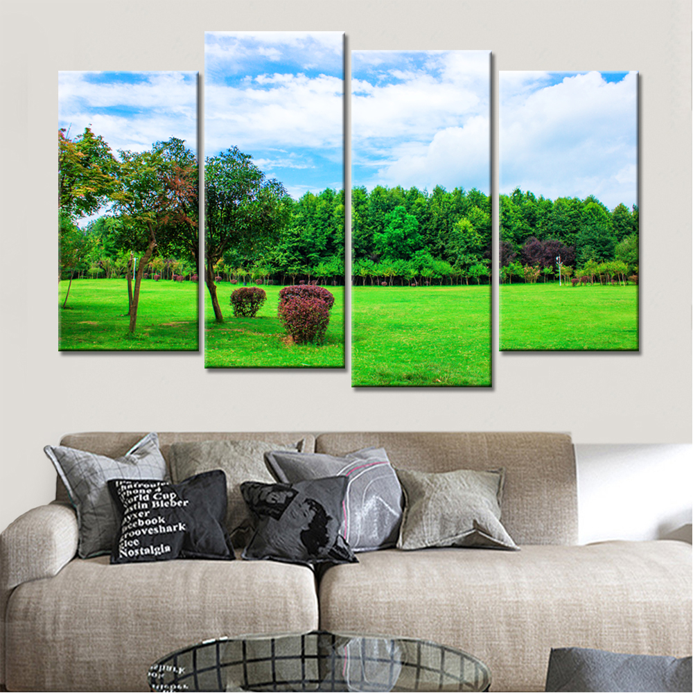 Buy 4 pieces forest river classic bridge - Landscape paintings for living room ...
