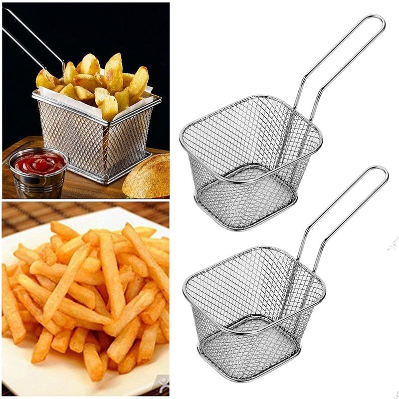 Home & Garden Other Kitchen Tools & Gadgets Urijk 1pc Stainless Steel Chips Mini Frying Basket Strainer Fryer Kitchen Cooking Chef Basket Colander Tool French Fries Basket