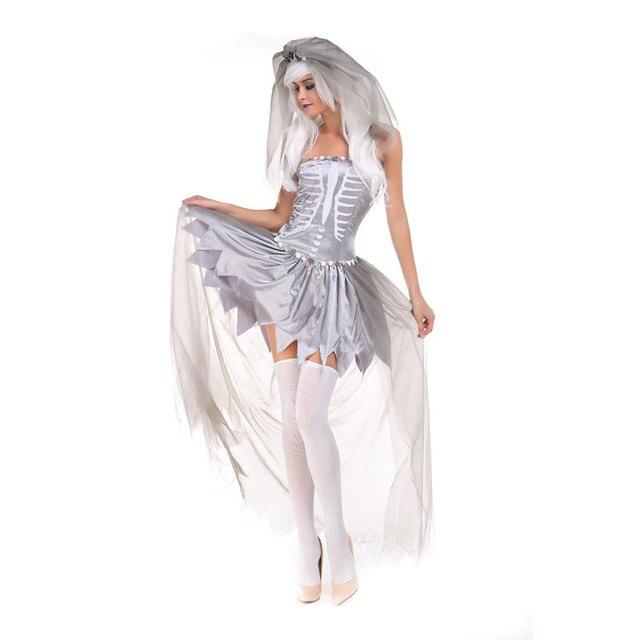 Fantasma bianco Costumi di Halloween Per Le Donne Vestito Cosplay Halloween  Fantasma Sposa Vestito Cosplay Bone 53d9694ce991
