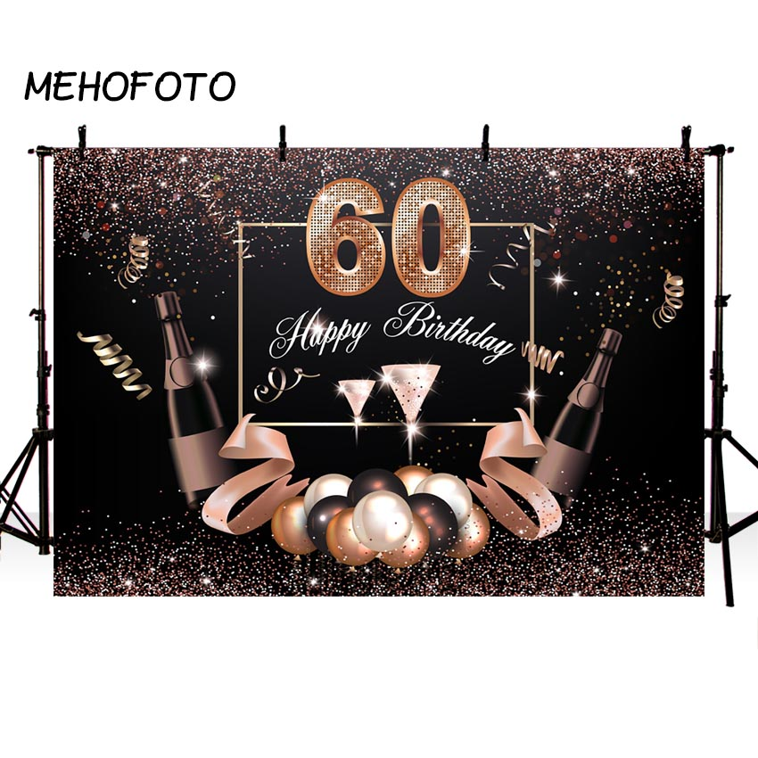 100% Kwaliteit Achtergrond Voor Foto Studio 60th Birthday Party Champagne Gouden Achtergrond Photocall Lint Dessert Tafel Decor Photoshoot