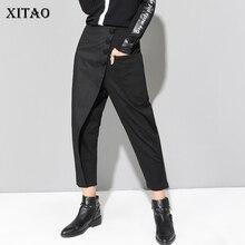 XITAO, черные длинные штаны-шаровары, женские повседневные штаны с эластичной резинкой на талии и пуговицами, Modis, женские брюки в стиле пэчворк, осень, LJT3926