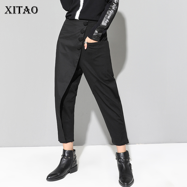 XITAO Black Tide Long Harem Pants Women Elastic Waist Button Fly Casual Modis Front Patchwork Female Trouser 2019 Autumn LJT3926 1