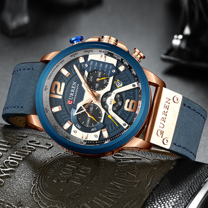 Image 2 - CURREN 8329 Mens שעונים למעלה מותג יוקרה הכרונוגרף גברים שעון עור יוקרה עמיד למים ספורט שעון גברים שעון גבר שעוני יד