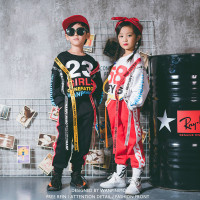 Naughty boy childrens street dance costumes in large girls and girls jazz dance color printing streamers sweater