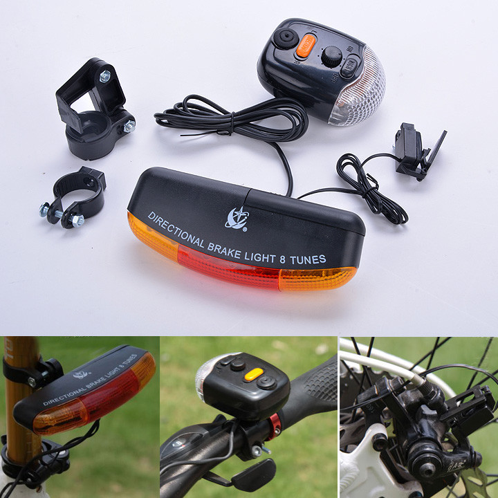 MTB Bicycle Bike Turn Signal Brake LED Light Bicycle Turn Signal Directional Brake Light Lamp 8 Sound Horn Bicycle Accessories