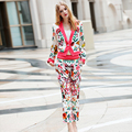 2016 Runway Autumn Designer Clothing Set Women's Long Sleeve Fancy Flower Printed Embroidery Casual Blazer + Black / White Pant