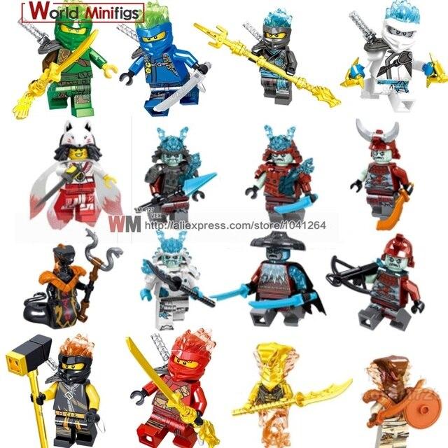 Legoings Ninjagoes Jay Kai Zane Gelo Imperador Lloyd Garmadon Nya Cobra Quatro Olhos Única Venda Building Blocks Toy Presente para crianças