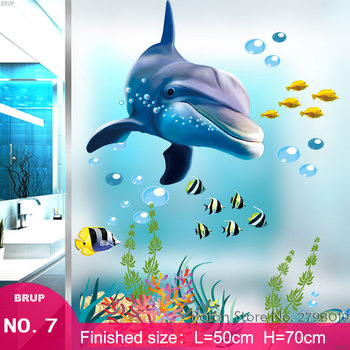 7 Kinds Dolphin Floor Stickers Sea Animals 3D Wall Stickers Bedroom Home Decors Mural Art Wall Decals Vinyl Wallpaper Waterproof 7