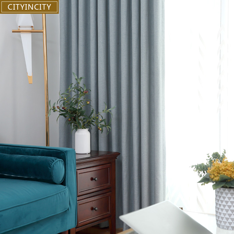 CITYINCITY Herringbone Solid Curtain For bedroom luxurious Home Decor Darpes Faux linen Curtains for living room Customized