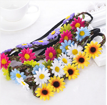 Hot!2016 New Arrived High Fashion Sunflowers Beach Accessories Hairband 8 Colors