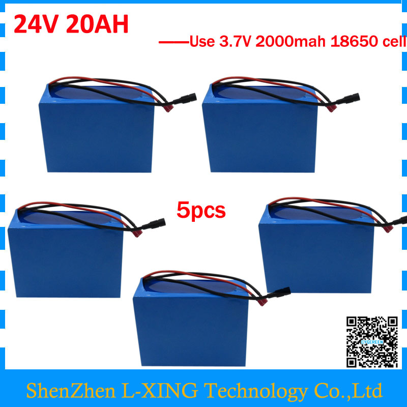 Wholesale 5pcs/lot 24V 20AH li-ion battery 24 V 20AH ebike battery with PVC Case use 3.7V 2000mah cell 30A BMS 3A Charger free customs fee 24v 20ah lithium ion battery pack 24 v 20ah battery use 2500mah 18650 cell 30a bms with 3a charger