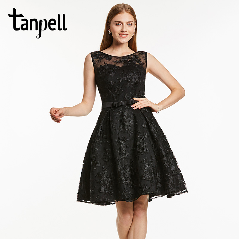 Tanpell a line lace homecoming dress black scoop sleeveless knee length a line dress lady ruched short cocktail homecoming gown
