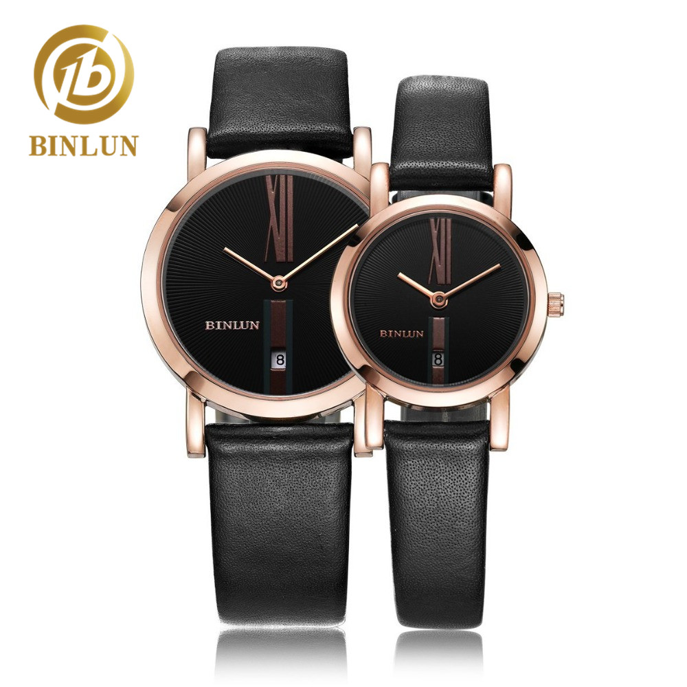 BINLUN Rose Gold Minimalist Quartz Couple Watches Genuine Leather Quartz Watch Auto Date Couple Automatic Watch Gifts For Lovers
