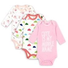 Купить с кэшбэком 3/pack Baby Boy Bodysuits Long Sleeve Underwear Baby Pajamas Clothes Top Quality Boys Clothing Set girl jumpsuit