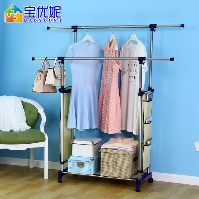 Double Rod Hanger Floor Indoor Drying Racks Stainless Steel Retractable  Clothes Rack Parallel Bars Mobile