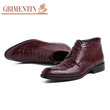 GRIMENTIN Fashion Men Boots Fashion Designer Elegant Lace Up Crocodile Prints Dress Booties Genuine Leather Mens Shoes Casual