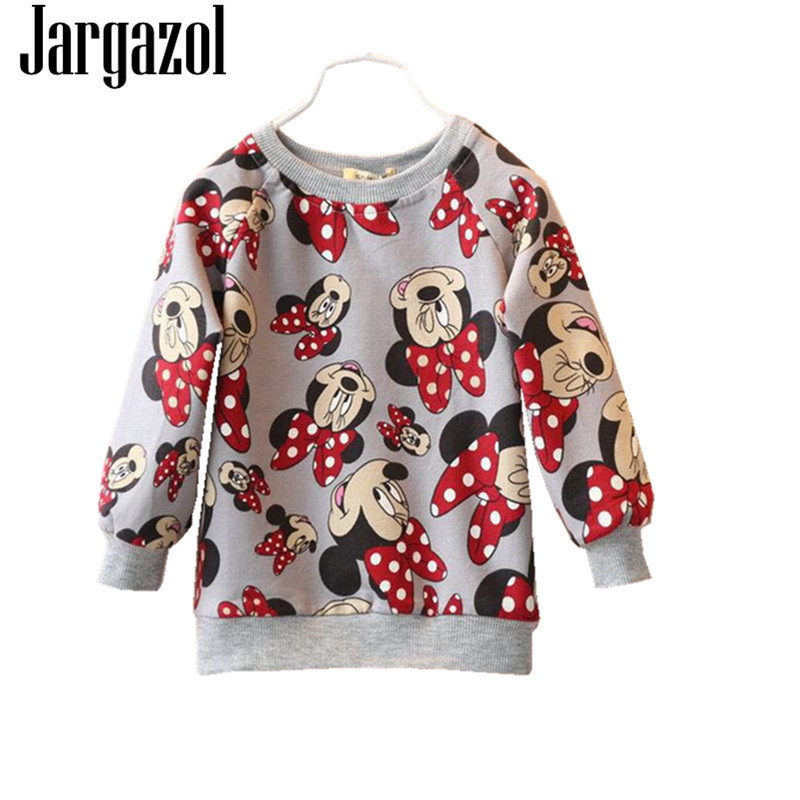 Jargazol Girls Shirt Cartoon Minnie Printed Fashion Kids Sweater 2018 Autumn Vetement Enfant Fille Children Tops Girl Sweatshirt цены онлайн