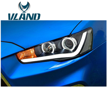 VLAND LED Car Headlight Assembly For Lancer EX/EVO 2008 2009 2010 2012 2015 with Bi-Xenon Lens+Angel Eyes+plug and play