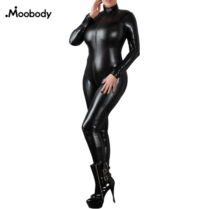 Sexy Lingerie Black Female Faux Leather Catsuit PVC Latex Bodysuit Front Zipper Open Crotch Stretch Bodystocking	Erotic
