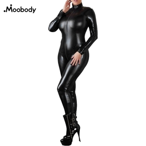 Sexy Lingerie Black Female Faux Leather Catsuit PVC Latex Bodysuit Front Zipper Open Crotch Stretch bodystocking Erotic(China)