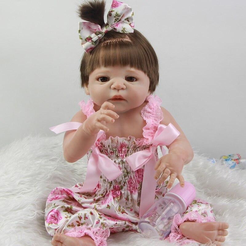 Lifelike full soft silicone 23inch reborn dolls realistic boneca newborn babies doll...