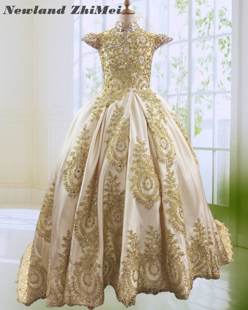 Amazing Beaded Appliques Satin Ball Gown   Flower     Girl     Dress   Luxury Champagne High Neck Cap Sleeve Long Communion   Dress