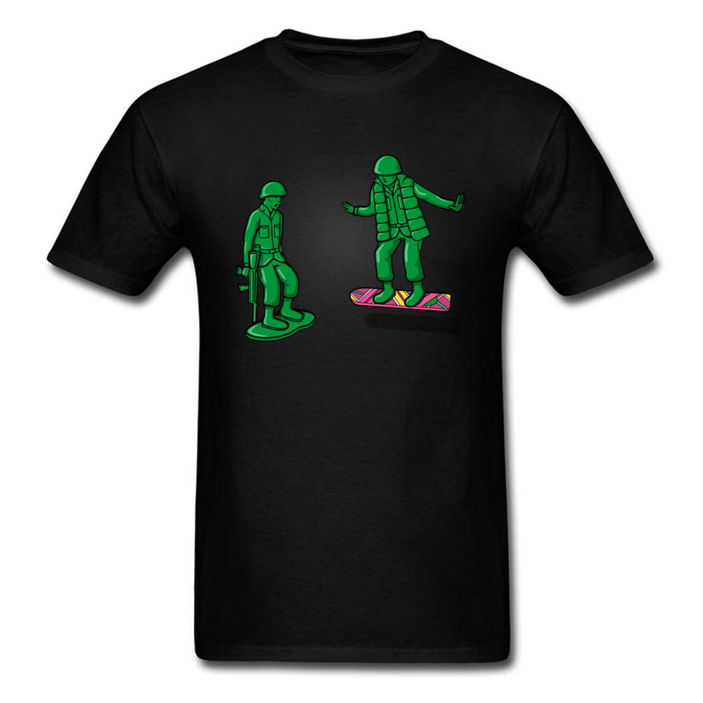 Back Toy The Future T-shirt Men Fun Tops Skateboard Tshirt Summer Black Green Clothing Skaters Cool Tees Soldier Style