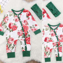 Baby Kids Girl Clothes Button floral Bodysuit Outfits