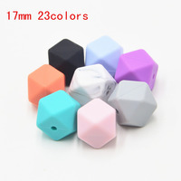 50pc 17mm Hexagon Loose Silicone Beads for Teething Necklace Silicone Teething Beads For Baby Teether BPA Safe Loose Beads