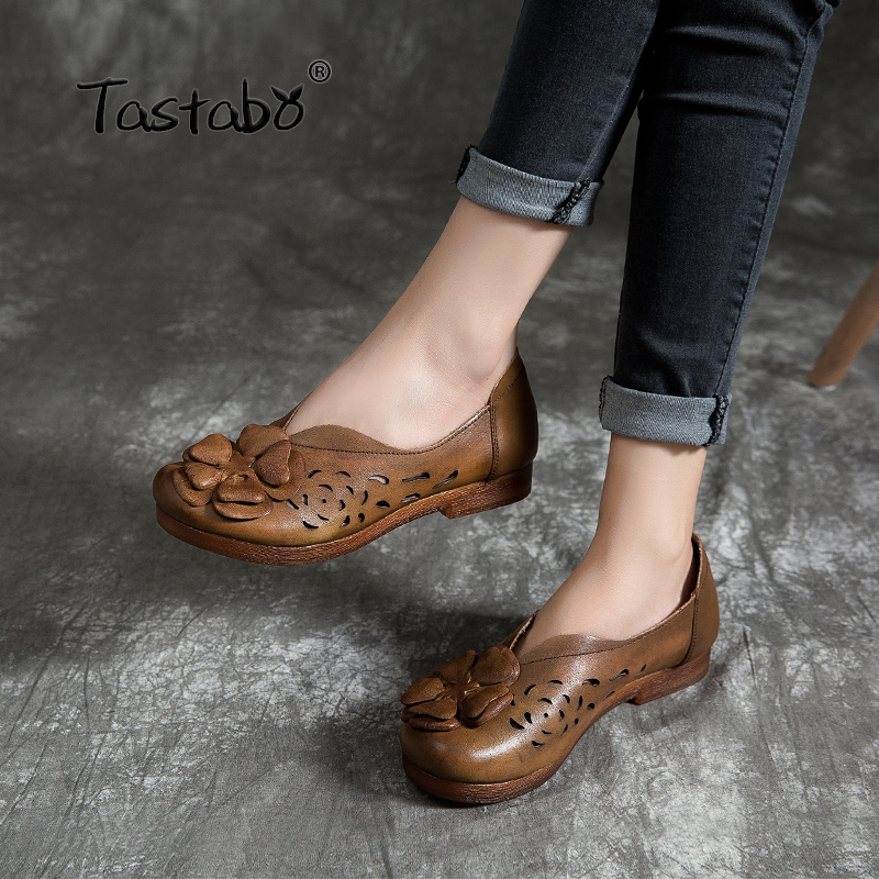 Tastabo 100%Genuine Leather Women's shoes Decal hollow design Comfortable casual style S19627 Flat shoes Brown Khaki Daily shoes