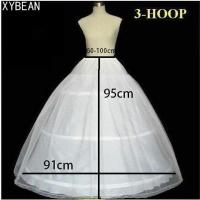 Free Shipping Hot Sale 3 Hoops Bone A Line Petticoat Wedding Skirt Slip Crinoline
