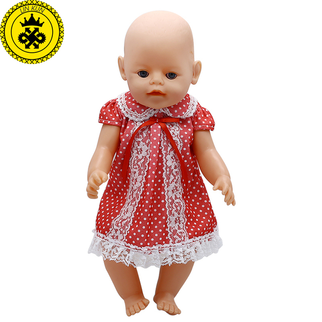 5022103ad Baby Doll Clothes Lace Wave Point Princess Dress Fit 43cm Baby 43cm Doll  Accessories Christmas Gift 346