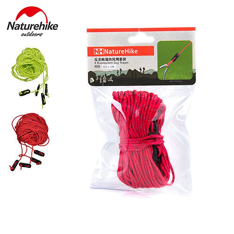 Naturehike 4*4m Reflective Tent Rope Windproof Rope Guy Line Awning Put a Noose With Adjustable Button Green&Red