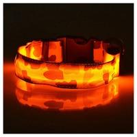 SZS Hot Orange, Pets Dog LED Leopard Night Safety Collar Adjustable
