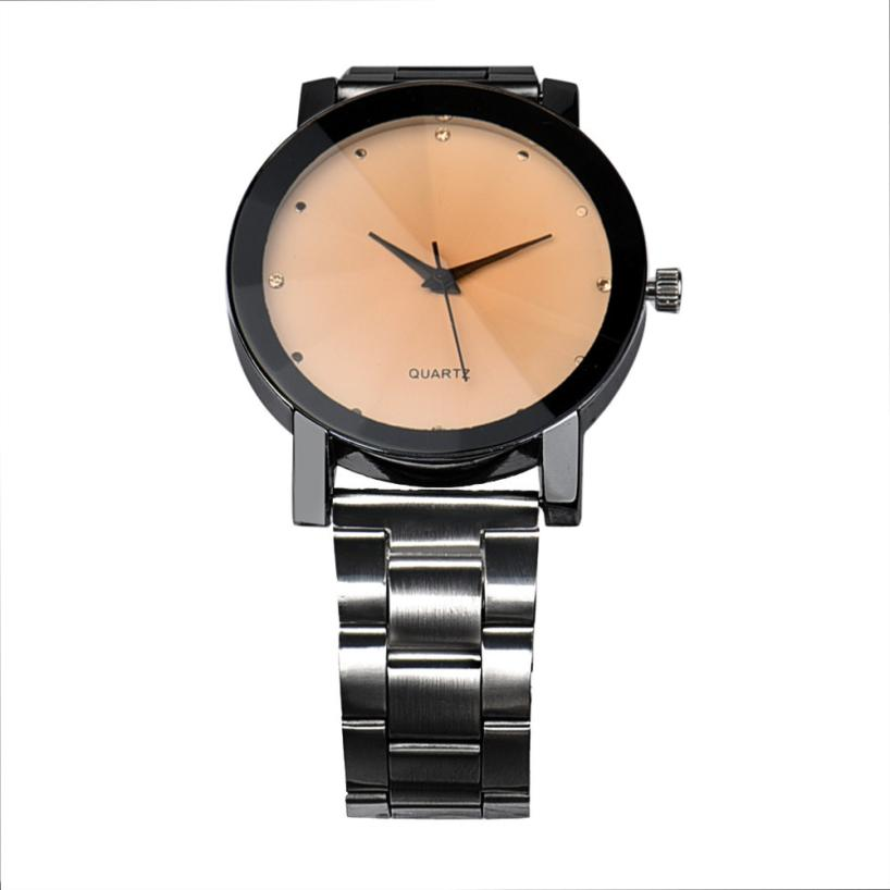 Fashion luxury Man Women Crystal Stainless Steel Analog Quartz Wrist Watch stylish business male watches gentlemen bracelet gift