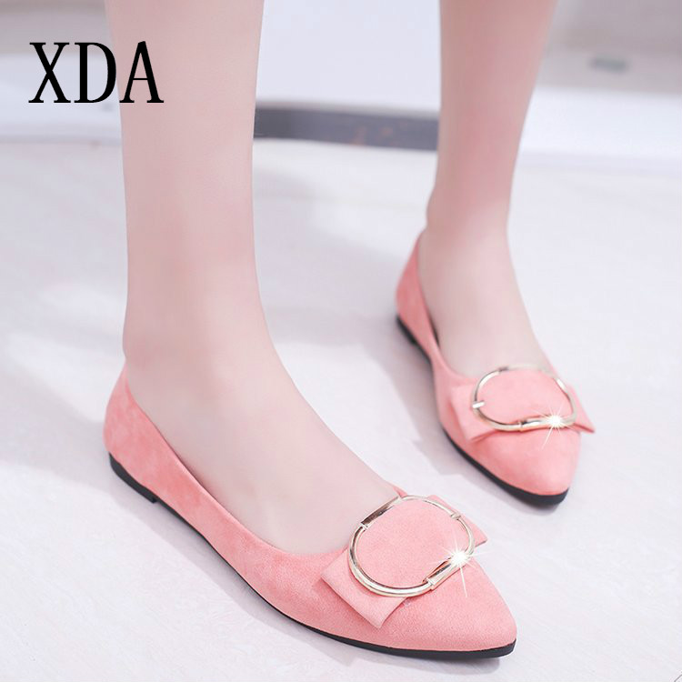 XDA 2019 Plus size 35-41 Women   Suede   Flats Fashion Woman Loafers Pointy Toe Ballerina Casual single Shoes Women Zapatos Mujer