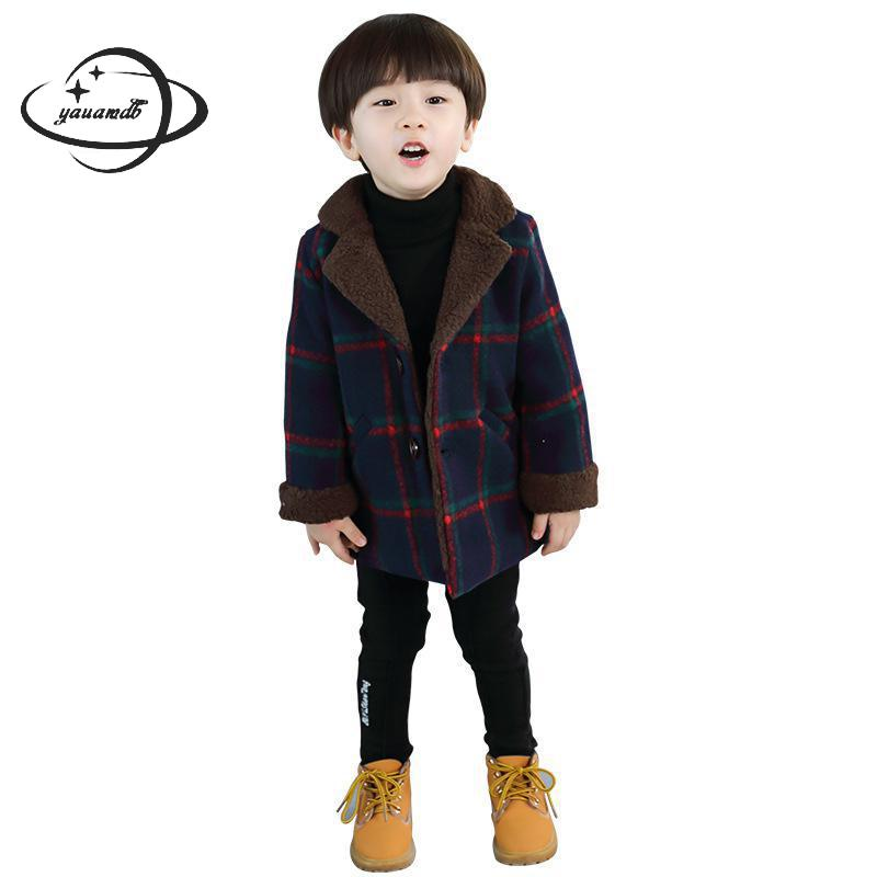 kids wool coats autumn spring 4-11Y single breasted boys blends jackets plaid clothing pocket children outerwear clothes ly54