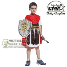 Halloween Children's Set Ancient Rome Costumes for Kids Boys Cosplay Clothing Warrior Kids Roman Soldier Performance Costumes