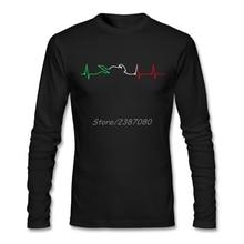 Мотоцикл сердцебиение цветная футболка на заказ с длинным рукавом Футболка мужская горячая Harajuku хлопок мужские рубашки