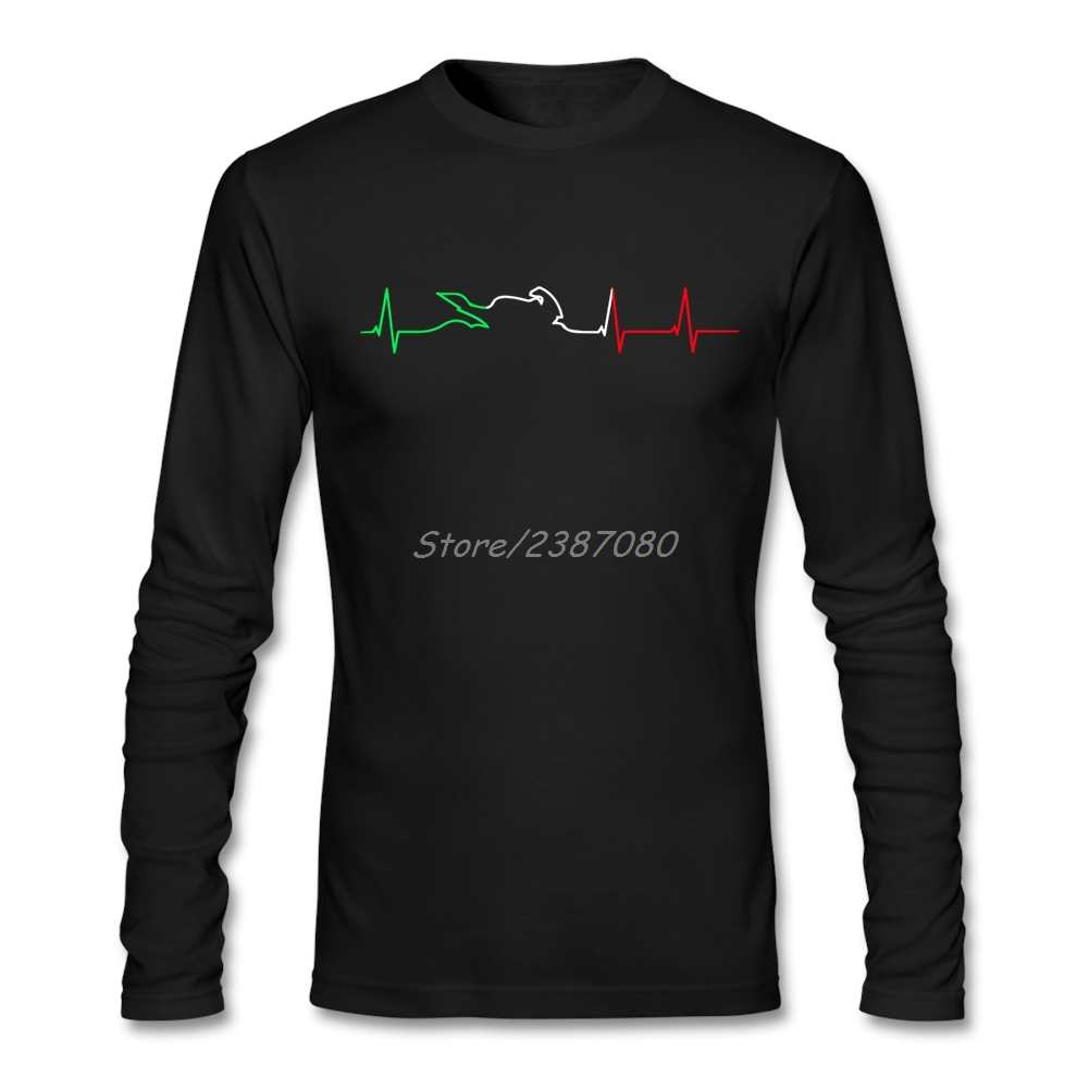 Motorcycle Heartbeat Color T Shirt Custom Long Sleeve T-shirt Men 2019 Hot Harajuku Cotton  Men's Shirts