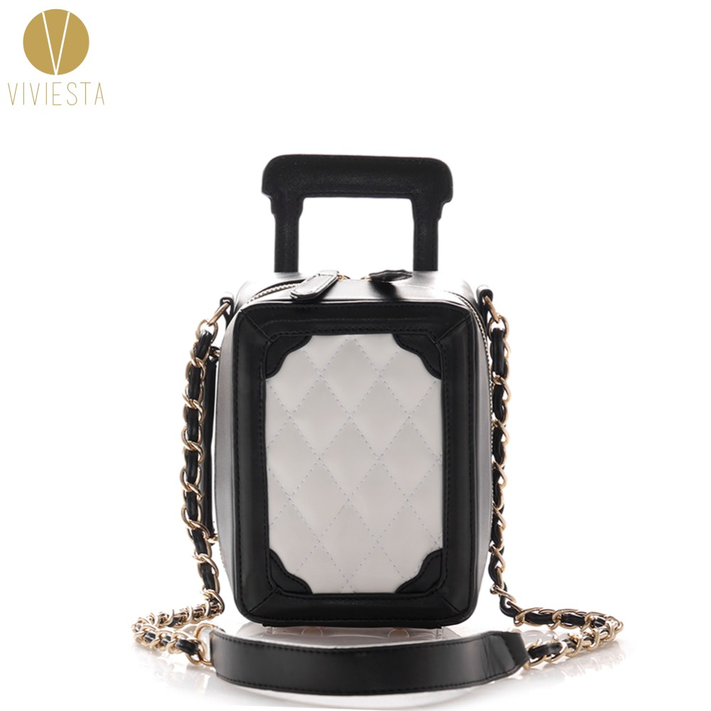 MINI QUILTED LUGGAGE CHAIN BAG - Women's 2018 Fashion Designer Quilting Stitched Plaided Top Handle Shoulder Bag Purse Handbag mini quilted luggage chain bag women s 2018 fashion designer quilting stitched plaided top handle shoulder bag purse handbag